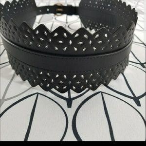 H&M  Black perforated floral wide belt NWOT size S